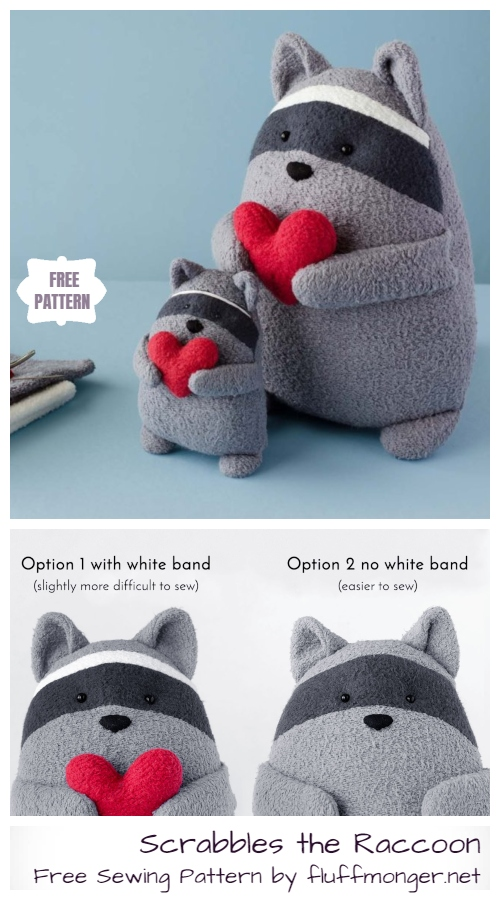 DIY Scrabbles the Raccoon Softies Free Sewing Patterns & Tutorials