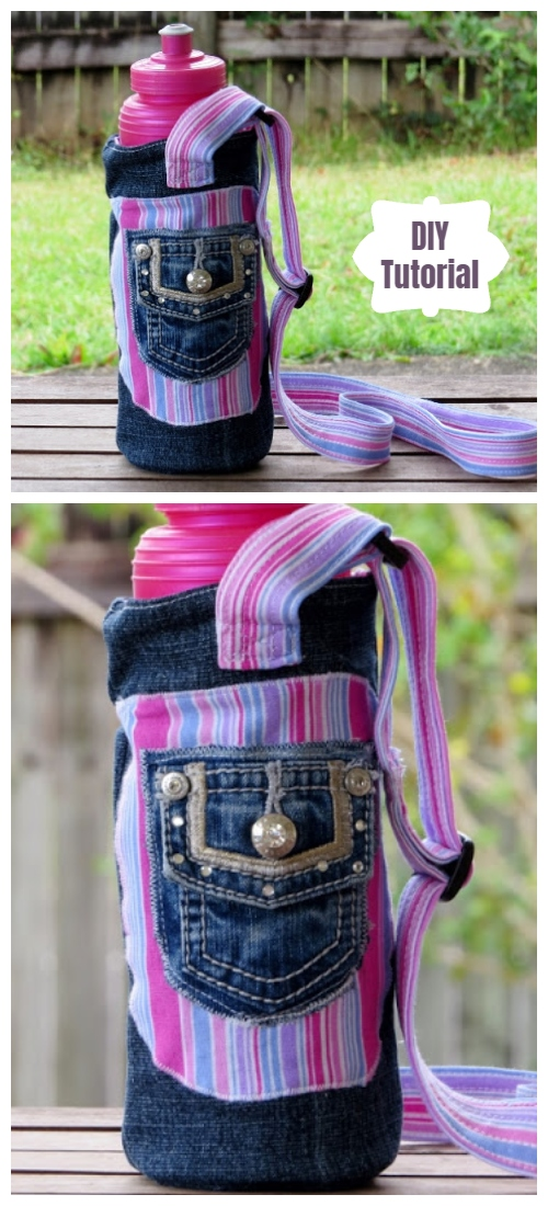 DIY Recycled Jean Water Bottle Carrier Free Sewing Tutorial
