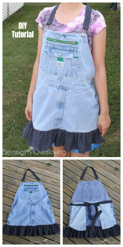 DIY Ruffled Denim Jean Apron from Bib Overalls Free Sewing Tutorials