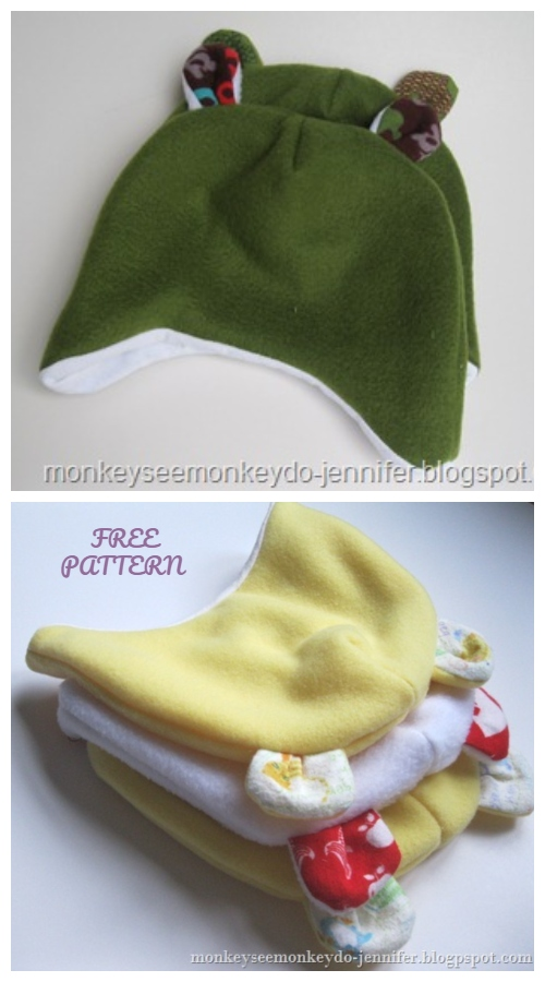 DIY Teddy Bear Baby Beanie Hat Free Sewing Patterns