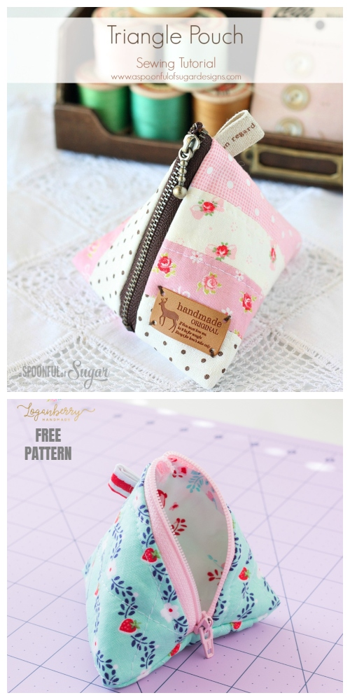 DIY Triangle Zipper Pouch Free Sewing Pattern & Tutorial
