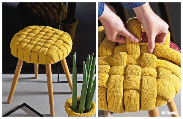DIY Recycled Sweater Woven Pouf Stool Cover Tutorial
