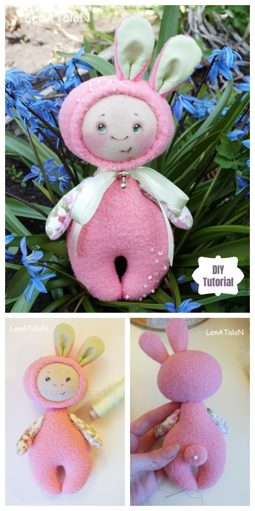 DIY Easter Bunny Doll Toy Free Sewing Pattern & Tutorial