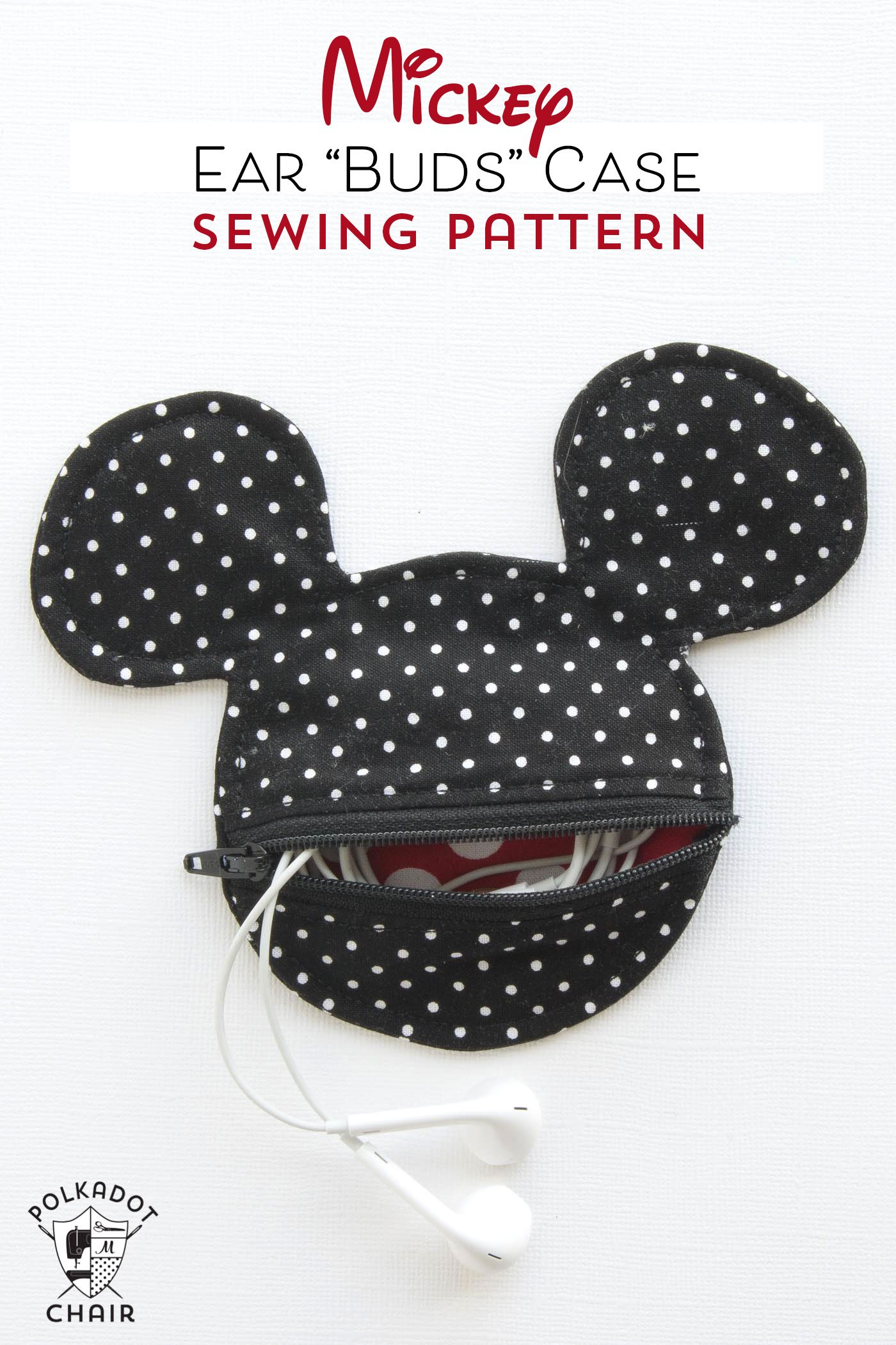 DIY Mickey Mouse Inspired Earbud Pouch Free Sewing Patterns
