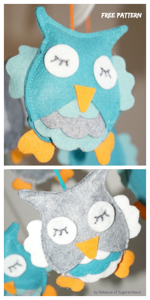 DIY Felt Owl Mobile Free Sewing Patterns