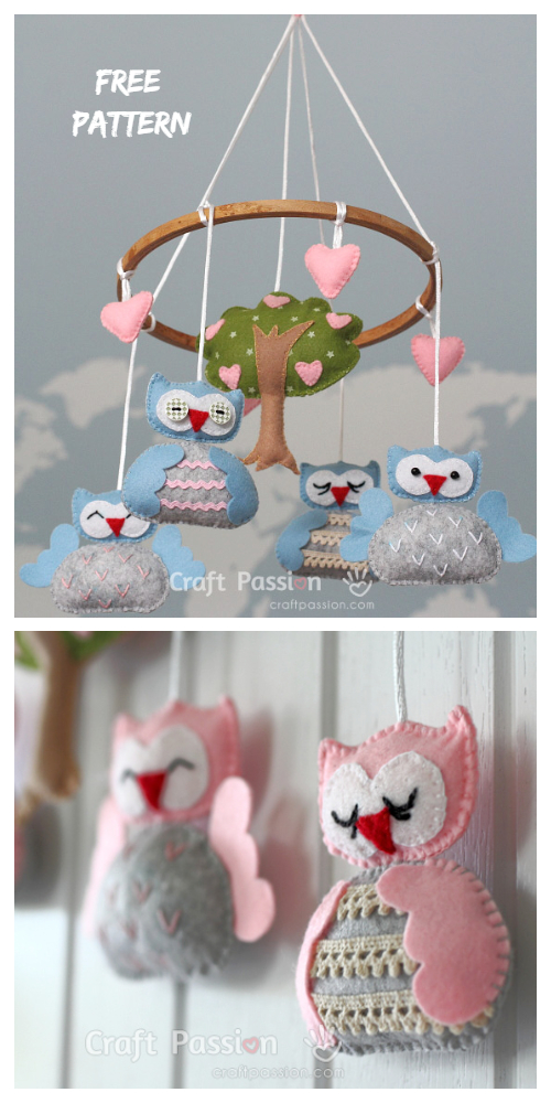 DIY Felt  Nursery Owl Mobile Free Sewing Patterns