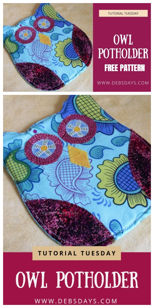 fabartdiy DIY Owl Potholder Free Sewing Patterns + Video f3