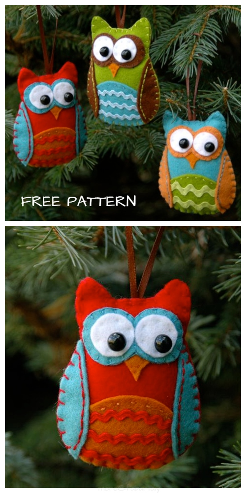 DIY Baby Felt Owl Christmas Ornament Free Sewing Pattern