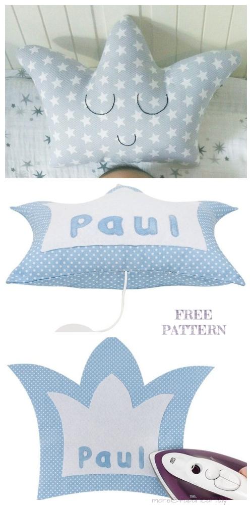 DIY Music Box Crown Pillow Free Sewing Patterns & Tutorials