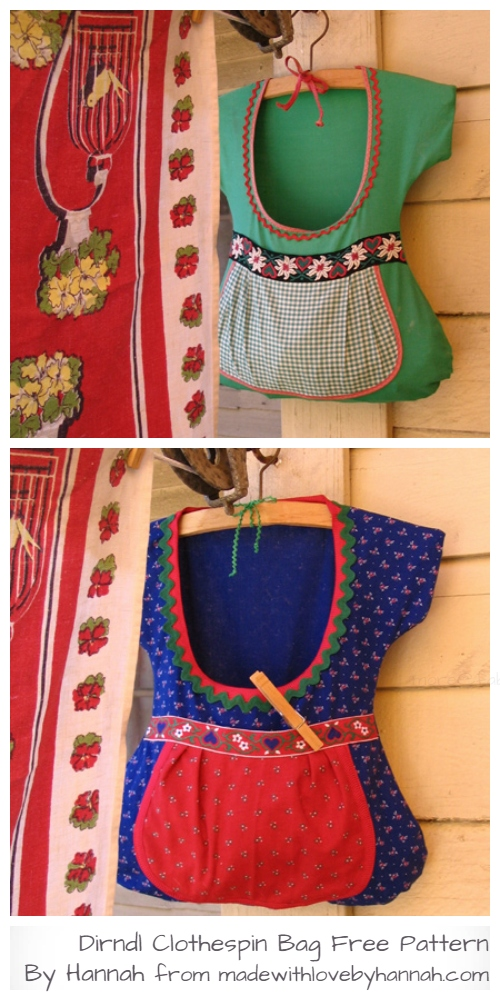 DIY Dirndl Clothespin Bag Free Sewing Pattern & Tutorial