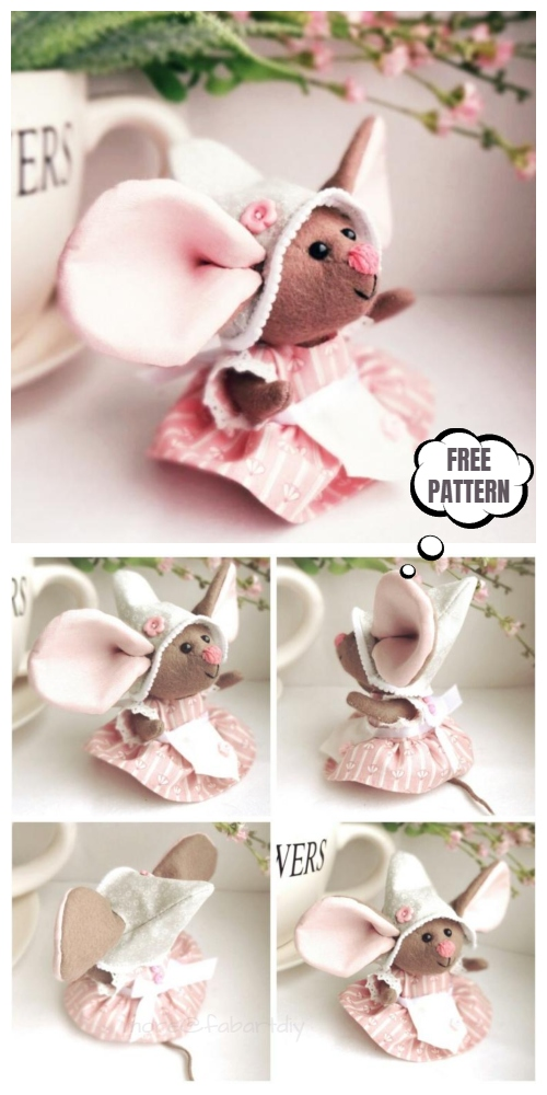 DIY Fabric Big Ear Mouse Free Sewing Patterns