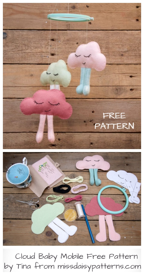 DIY Fabric Cloud Baby Mobile Free Sewing Pattern +Video Tutorial