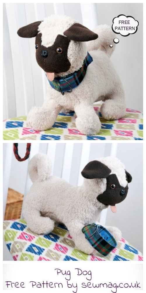 DIY Fabric Pug Dog Toy Free Sewing Patterns
