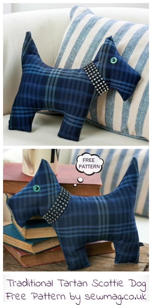 DIY Fabric Traditional Tartan Scottie Dog Toy Free Sewing Patterns