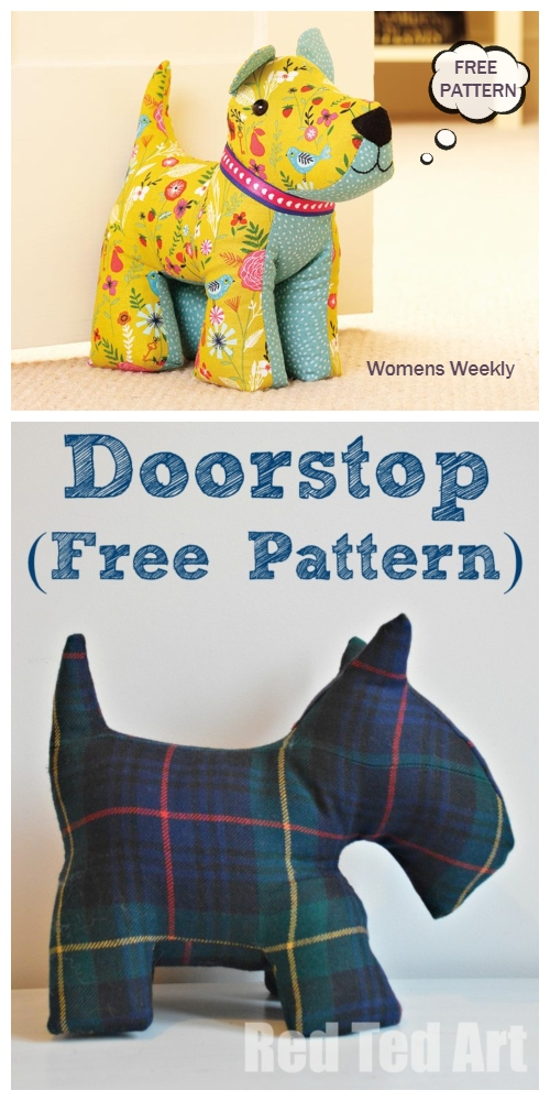 DIY Fabric Scottie Door Stop Dog Free Sewing Patterns