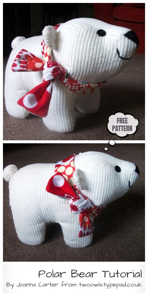DIY Fabric Toy Polar Bear Free Sewing Pattern & Tutorial