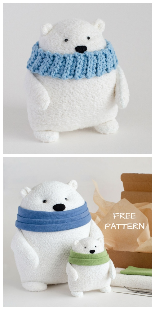 DIY Fabric Toy Polar Bear Free Sewing Pattern & Tutorial