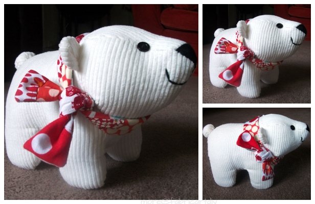 DIY Fabric Toy Polar Bear Free Sewing Pattern