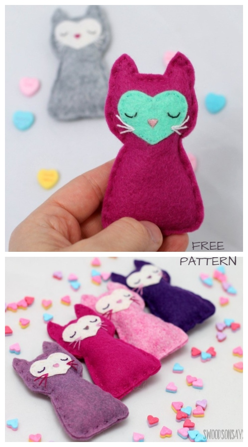 DIY Felt Pocket Kitty Cat Free Sewing Patterns