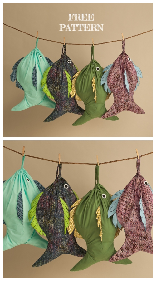 DIY Fish Laundry Bag Free Sewing Pattern