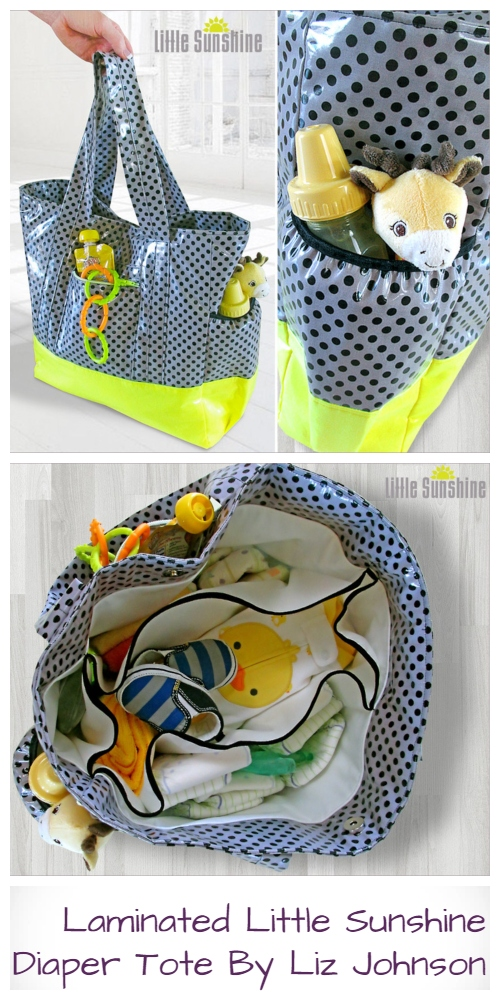 DIY Laminated Little Sunshine Diaper Tote Free Sewing Pattern