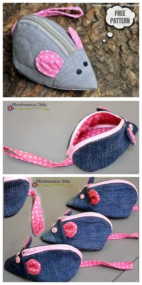 DIY Mouse Zipper Purse Free Sewing Pattern