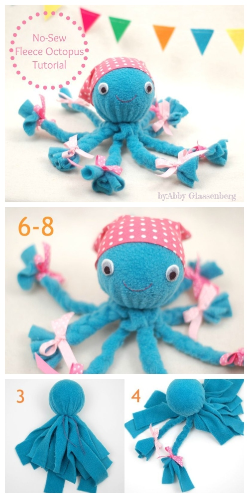 DIY No Sew Fleece Octopus Tutorial
