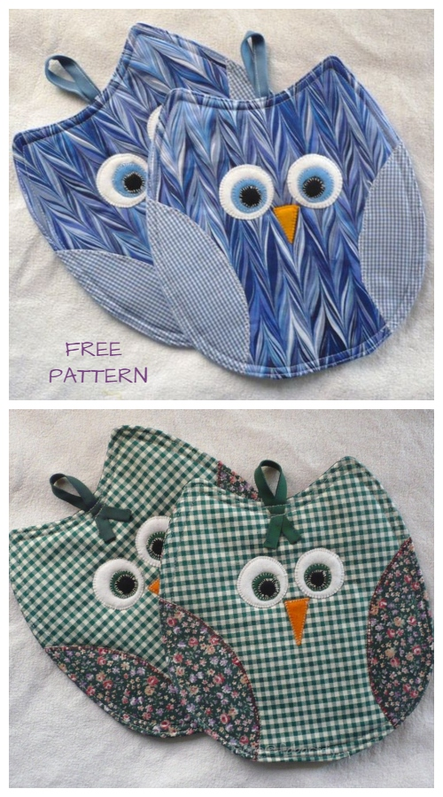 DIY Owl Potholder Free Sewing Patterns & Video Tutorials