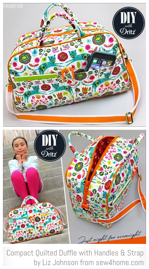 DIY Compact Quilted Travel Duffle Bag Free Sewing Patterns