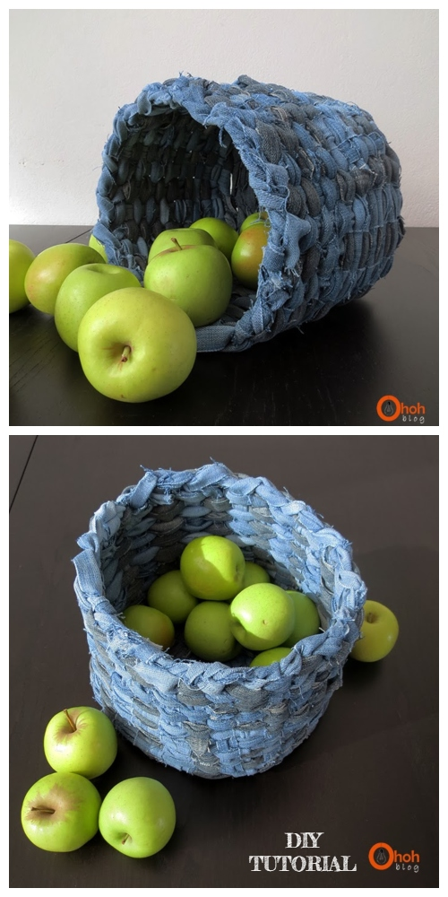 DIY Recycled Demin Jean Woven Basket Tutorials