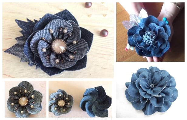 DIY Recycled Denim Jean Rose Flowers Free Sewing Pattern + Tutorial