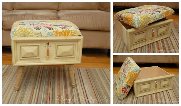 DIY Recycled Drawer Ottoman Tutorial