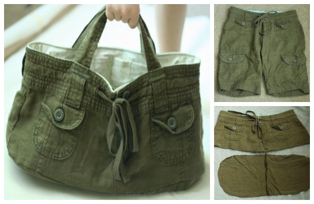 DIY Recycled Short Bag Free Tutorial