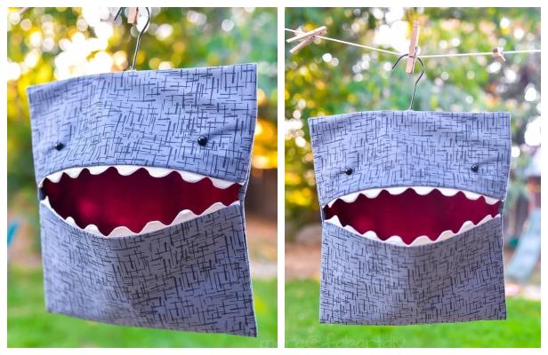 DIY Shark Clothespin Bag Free Sewing Tutorial