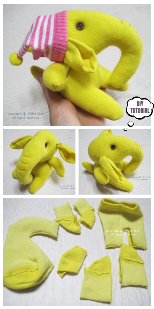 DIY Sock Elephant Free Sewing Patterns & Tutorials