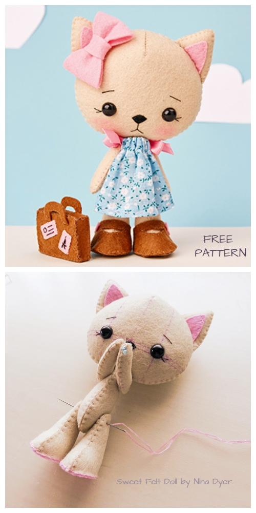 DIY Sweet Felt Doll Cat Free Sewing Pattern & Tutorial