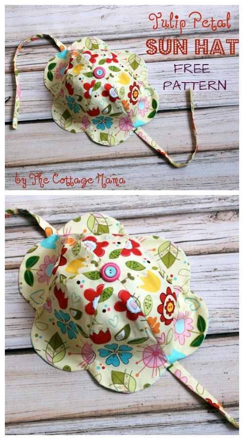 DIY Tulip Petal Sun Hat Free Sewing Patterns