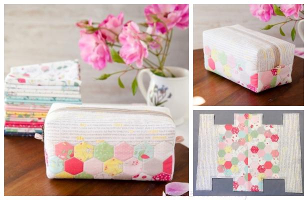 DIY Hexie Block Zip Pouch Free Sewing Pattern & Tutorial