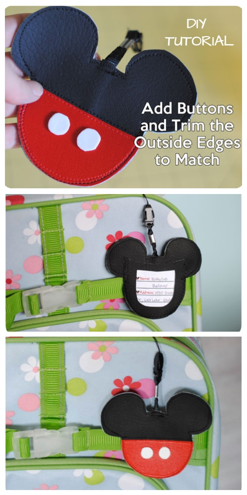 DIY Mickey Mouse Inspired Luggage Name Tag Pouch Free Sewing Patterns