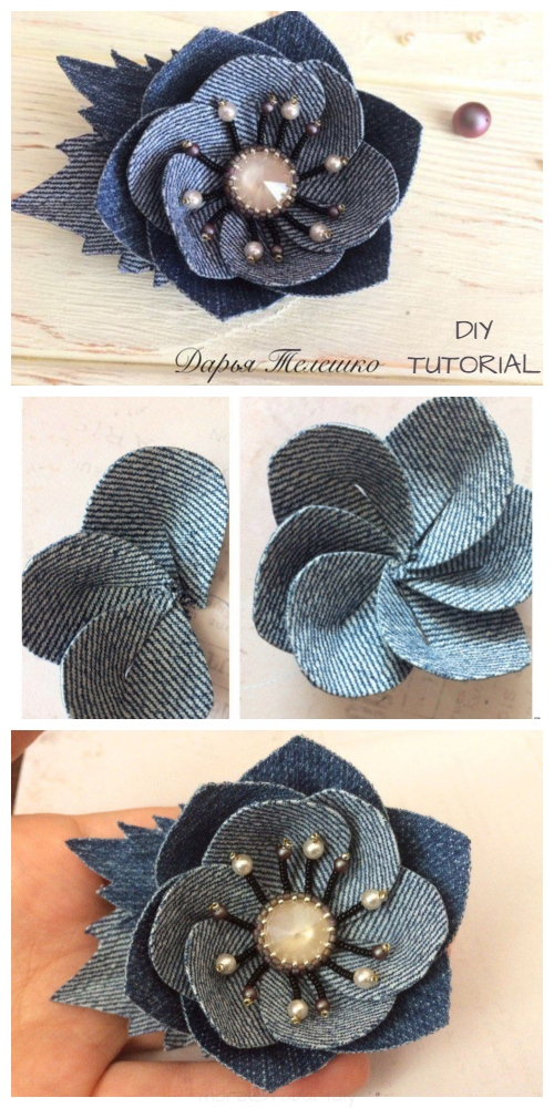 DIY Recycled Denim Jean Flower Brooch Free Sewing Pattern + Tutorial
