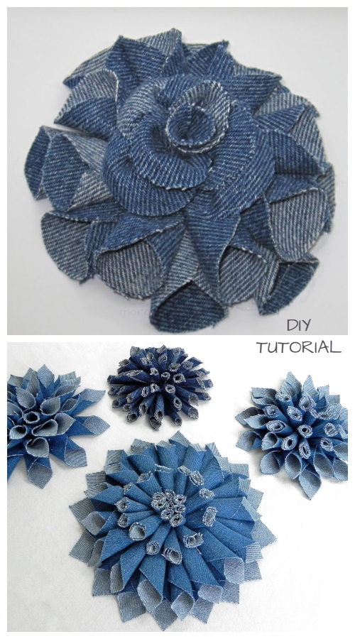 DIY Recycled Denim Jean Mum Flowers Free Sewing Pattern + Video Tutorial