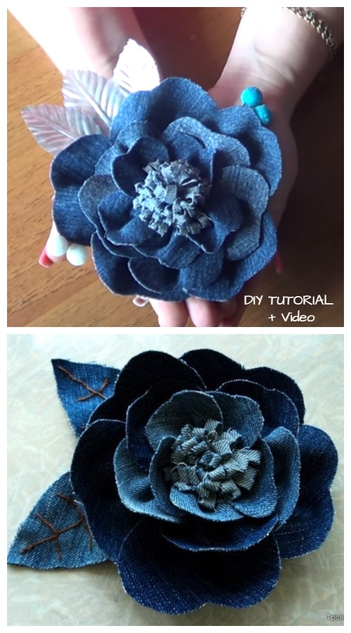 DIY Recycled Denim Jean Rose Flowers Free Sewing Pattern + Video Tutorial