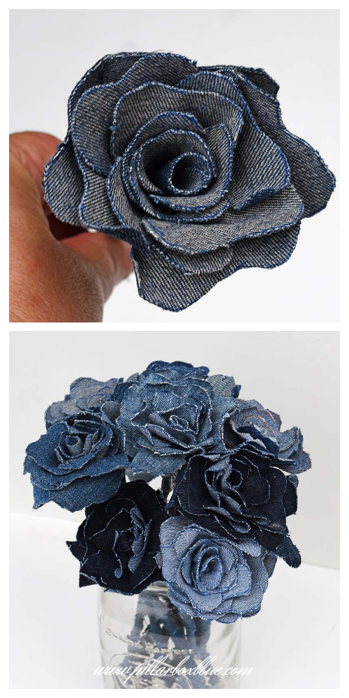 DIY Recycled Denim Jean Rose Flowers Free Sewing Pattern + Tutorial