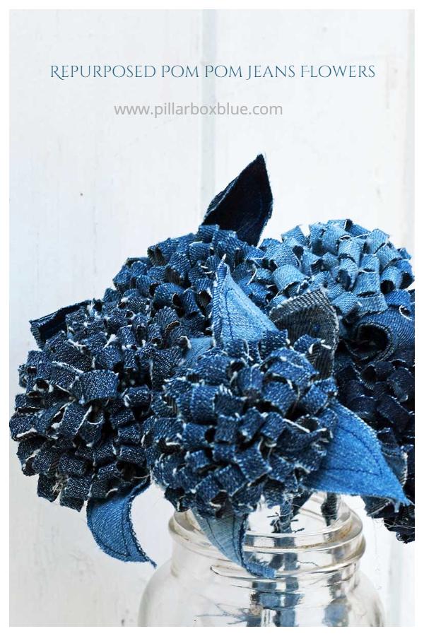DIY Recycled Denim Pom Pom Jeans Flowers Easy Tutorial
