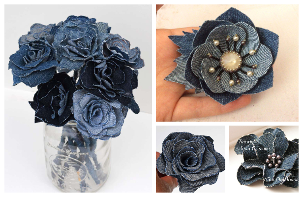 DIY Recycled Denim Jean Flower Free Sewing Patterns