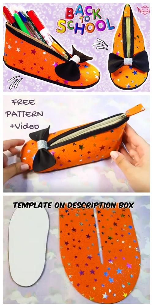 DIY Shoe Pencil Case Free Sewing Pattern + Video