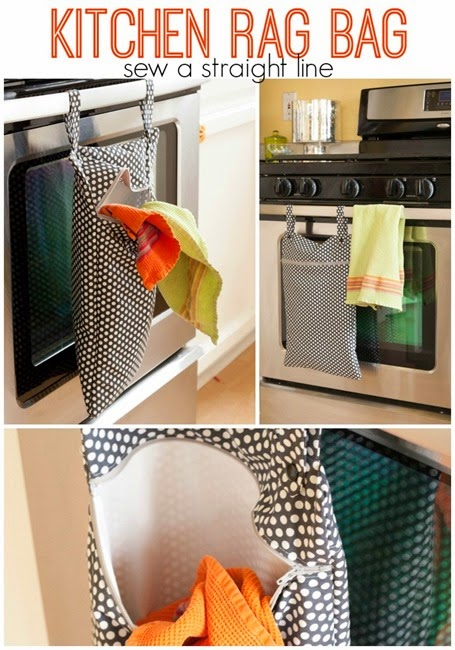DIY Kitchen Hanging Rag Bag Free Sewing Patterns