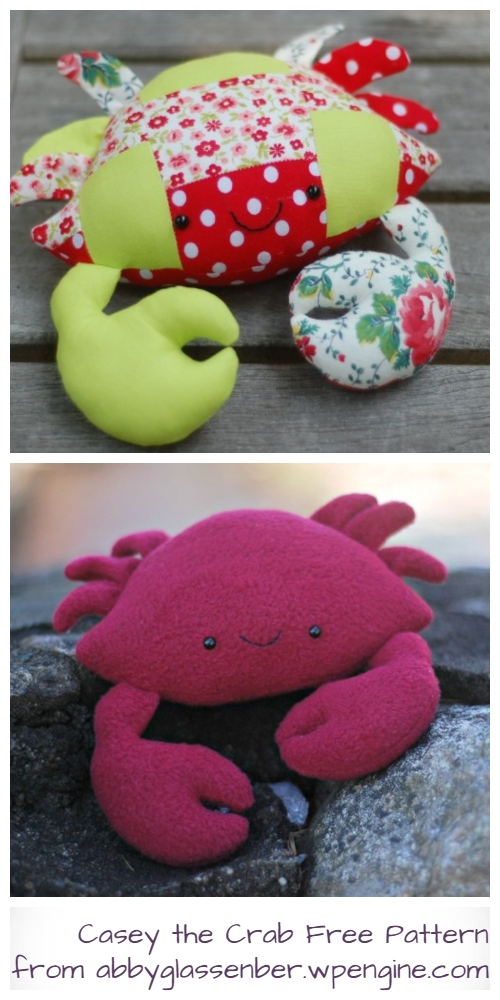 DIY Fabric Crab Plush Free Sewing Pattern & Tutorial