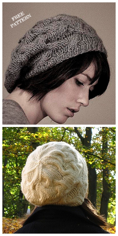 Knit Star Crossed Cable Slouchy Beret Free Pattern