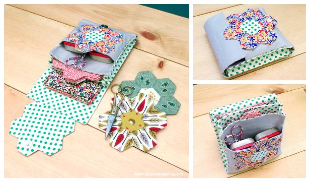 DIY Quilted English Paper Piecing Travel Kit Free Sewing Pattern
